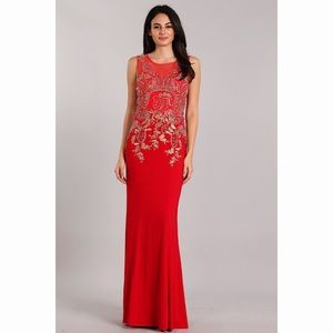 Red Sexy Gold Lace  Embroidery Dress